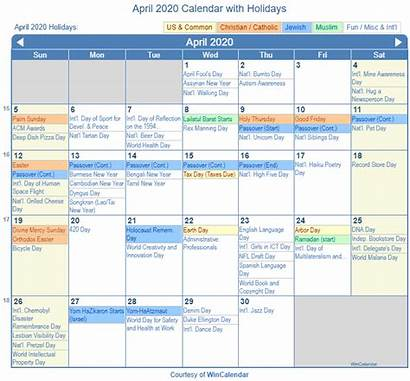 Calendar April Holidays Printable Holiday Christian Jewish