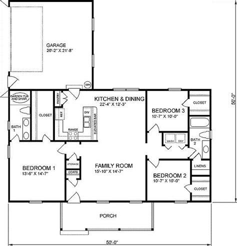 1400 sq ft bungalow 3 bedroom floor plan Google Search