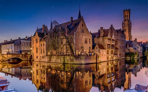wallpaper bruges belgium night river houses lights  hd picture image