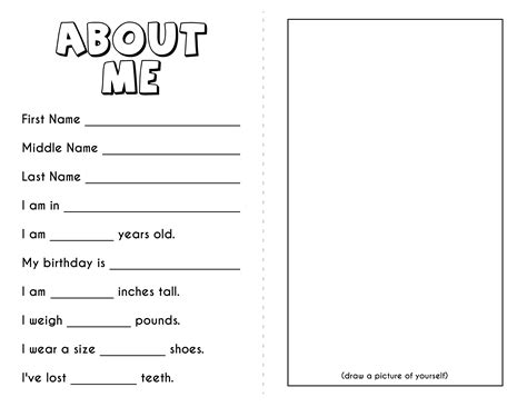 About Me Booklet Template - Costumepartyrun