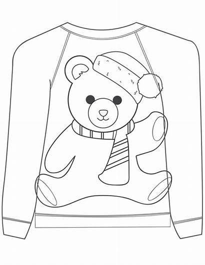 Sweater Coloring Ugly Christmas Pages Bear Teddy