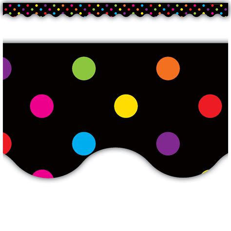 multicolor dots  black scalloped border trim tcr teacher created resources