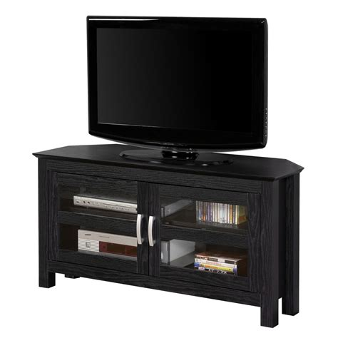corner tv cabinet for flat screens 44 inch corner wood tv stand with glass doors by walker