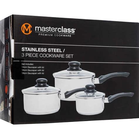 masterclass stainless steel  piece cookware set big