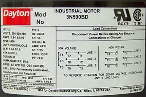 1  2 Hp 3450 Rpm 230  460 Volt Ac Motor Dayton 3n590bd P56ad20a01
