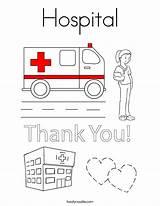 Coloring Hospital Built California Usa Twistynoodle sketch template