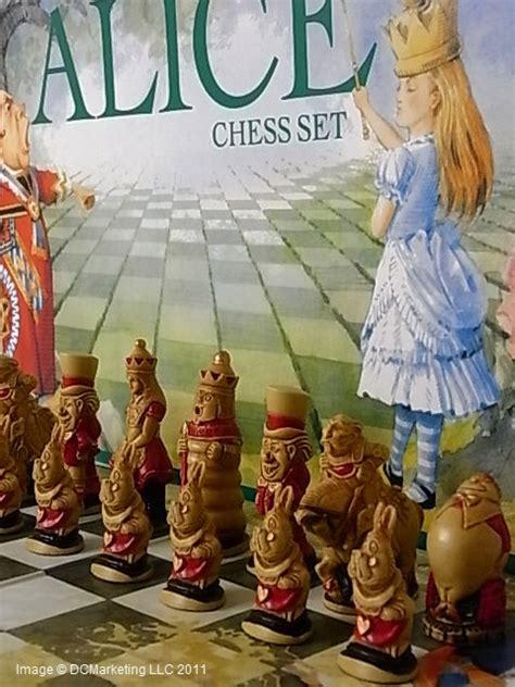chess alice wonderland checkmatechesssets board pieces sets game carlton studio sac anne sold