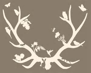 Woodland Deer Antlers Silhouette