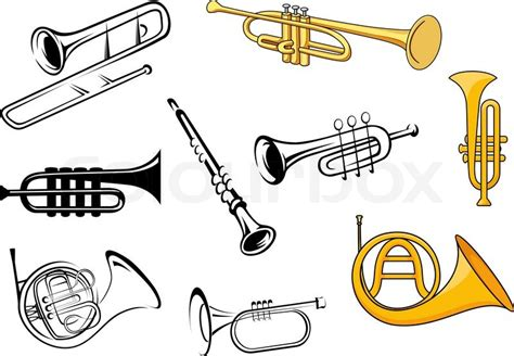 Trumpets, Trombone, Tuba, Clarinet Icons In Sketch And