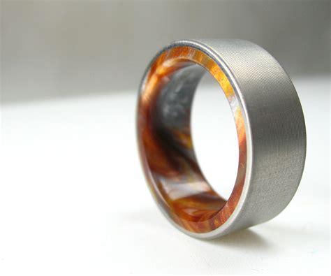 buy  handmade titanium wood tone burl mens wedding band