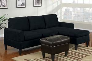 modern small black microfiber sectional sofa reversible With black microfiber small sectional sofa with reversible chaise ottoman