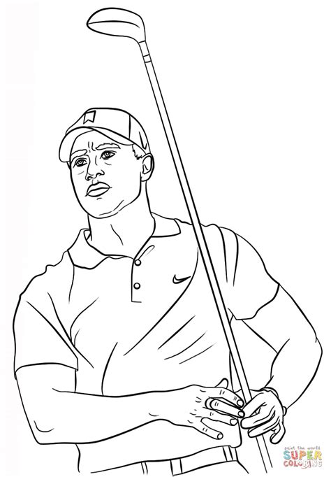 tiger woods coloring page  printable coloring pages