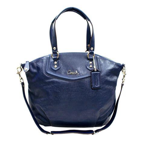 coach ashley leather satchel shoulder bag midnight navy  coach