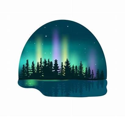 Aurora Northern Borealis Vector Lights Forest Icon