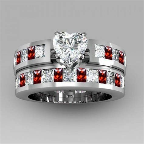 black sapphire 5 cut created white sapphire with ruby sidestone