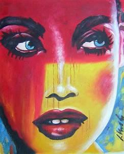 Peinture Visage Femme : tableaux peinture visage pop art peintures pop art contemporain david tableau peinture ~ Melissatoandfro.com Idées de Décoration