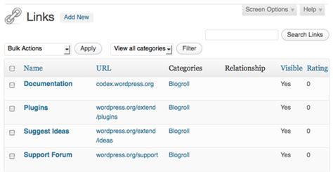 links manager wordpress codex