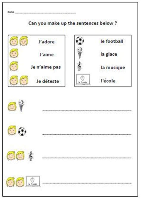 french teacher printable likes dislikes school worksheet