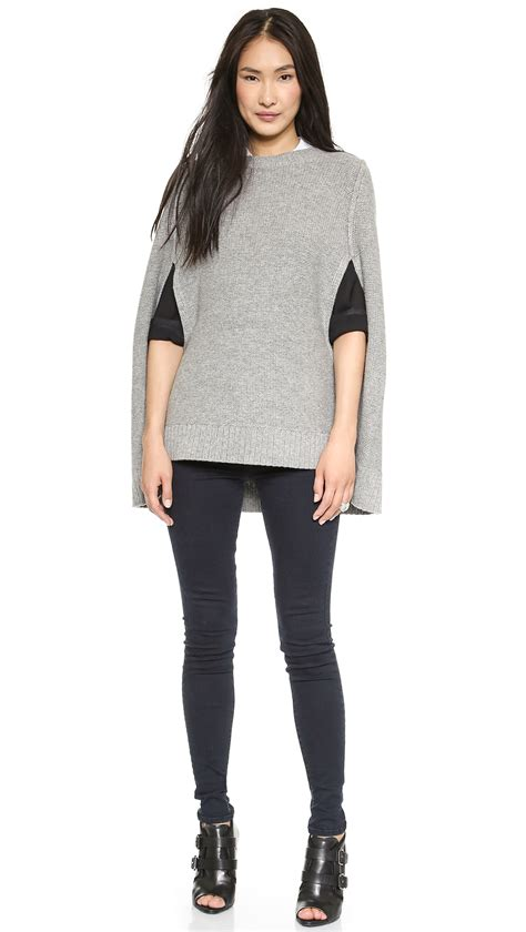 lyst dkny pure wool knit cape  gray