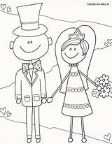 Coloring Groom Bride Colouring Doodle Activity Alley Printable Sheets Activities Reception sketch template