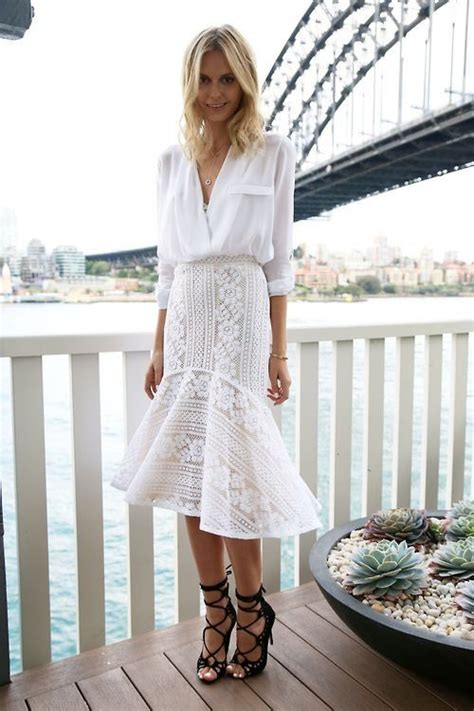 Street style all white outfit with shirt u0026 lace skirt | F A S H I O N | Pinterest | Summer ...