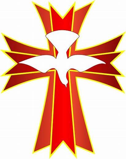 Clip Cross Catholic Cliparts Holy Spirit Dove