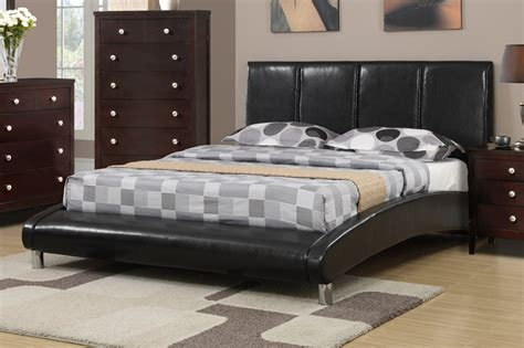 Poundex F9240q Black Queen Size Leather Bed Stealasofa
