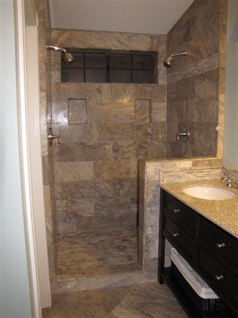 silver 12x24 vein cut travertine tile shower surround