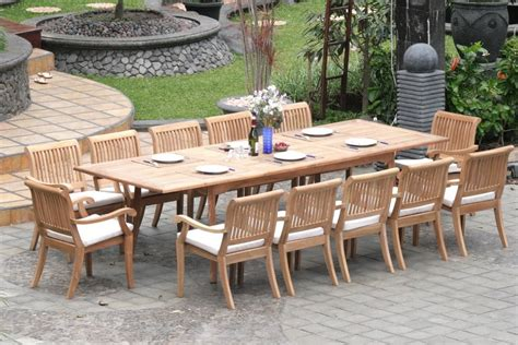 extending teak patio table  fixed length dining table