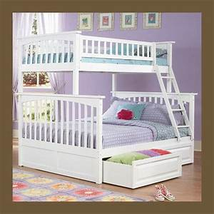 Girls, White, Bunk, Bed, Twin, Over, Full, Storage, Or, Trundle