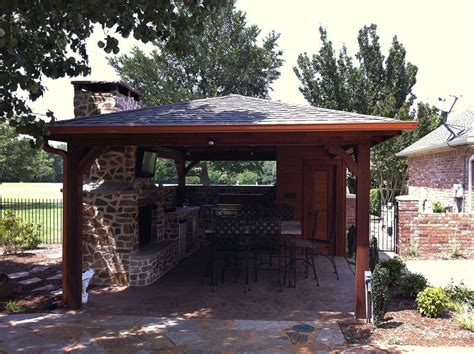 backyard patio cover outdoor kitchen and bathroom in