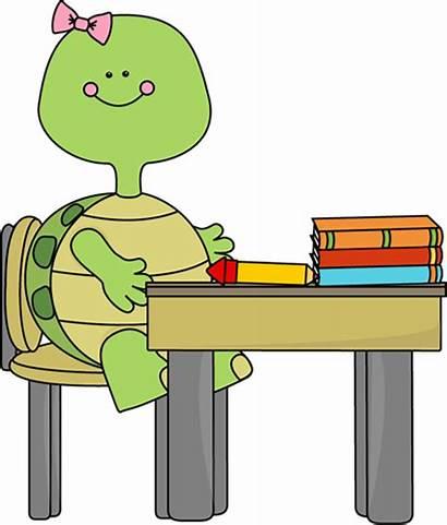 Turtle Clipart Desk Clip Sitting Cliparts Table