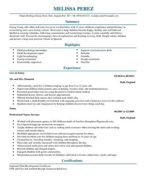 Professional Nanny Resume by Best Letter Sles Nanny Resume