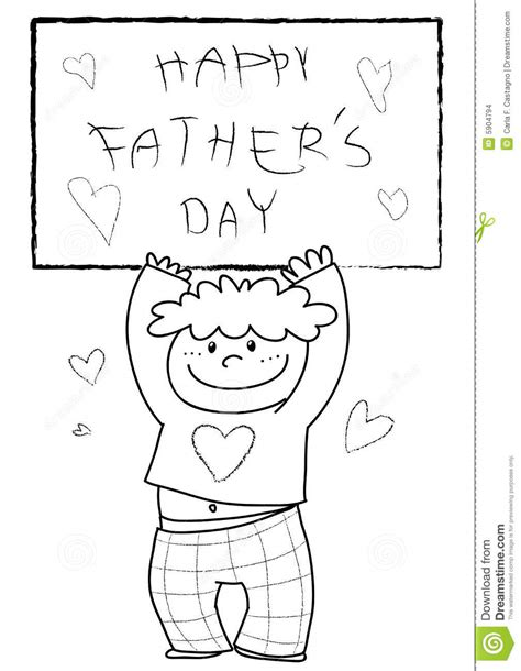 coloring happy fathers day stock vector illustration