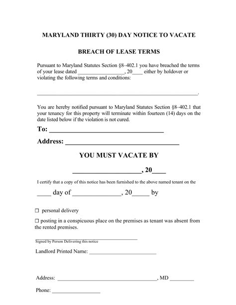 maryland  day notice  quit form  compliance