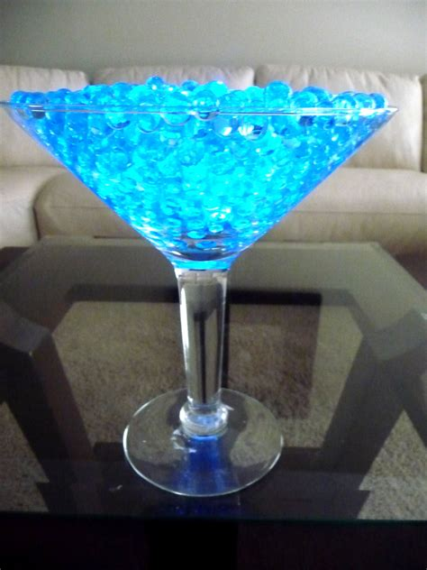 Grande Martini Glasses With Teal Acrylic Beading And Led