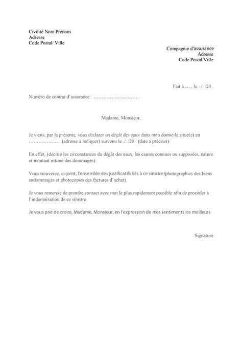 modele lettre declaration sinistre secheresse lettre de d 233 claration d un d 233 g 226 t des eaux lelynx fr