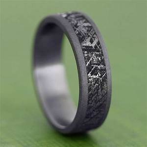 handmade mimetic meteorite ring sandblasted titanium With meteor rock wedding rings