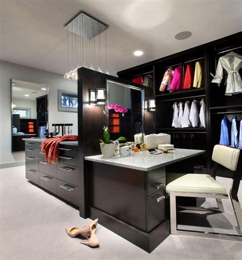 desk walk in closet design showing black