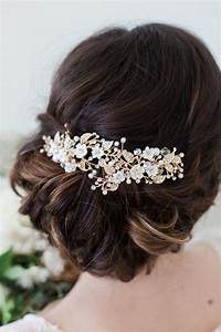 Wedding Hair Accessories Gold Flower Headpiece Ivory Flower