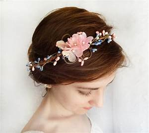 Blue Wedding Pink And Blue Floral Circlet Hairband