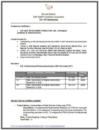 Best Resume For Sap Abap Fresher by 10000 Cv And Resume Sles With Free