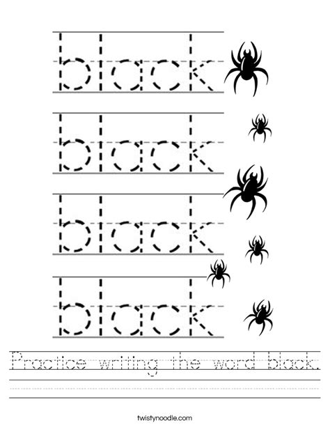 black worksheet practice writing the word black worksheet twisty noodle