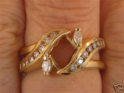 yellow gold  marquise geniune diamond ring wrap