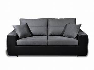 Canape Convertible Noir : photos canap noir et blanc convertible ~ Teatrodelosmanantiales.com Idées de Décoration