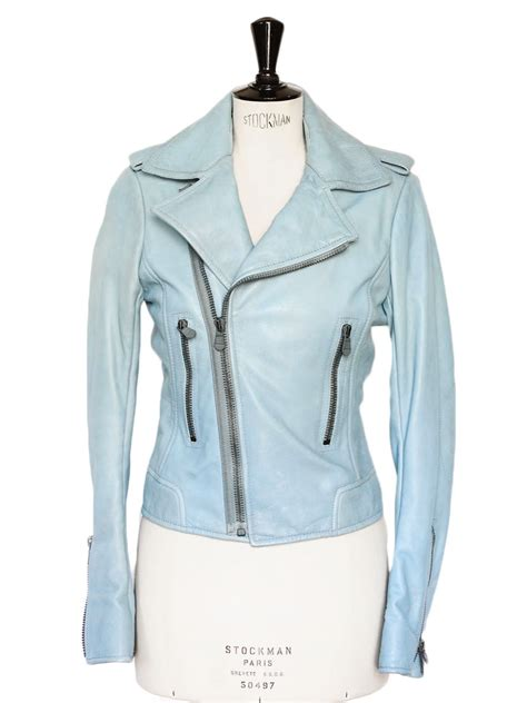 light blue leather jacket womens louise paris balenciaga light blue leather biker moto