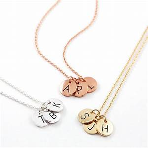 triple letter disc necklace by js jewellery With s letter necklace