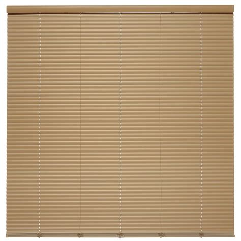 cordless vinyl mini blinds shop style selections 1 in cordless taupe vinyl room