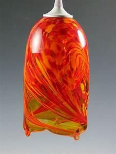 Flame pendant light by mark rosenbaum art glass