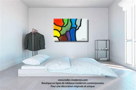 toile chambre adulte tableau violet bleu gris décoration originale design